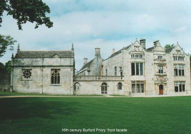 16th Century Burford Priory: front facade